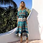 Womens Boho Long Maxi Dress Floral Summer Party Casual Beach Sundress Plus Size