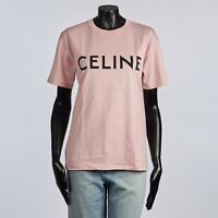 CELINE 415$ Loose Tshirt With Logo Print In Light Rose Cotton Jersey