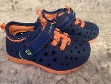 Stride Rite Made 2 Play Phibian Sneaker Sandal Water Shoe, Navy Orange, 5M - EUC