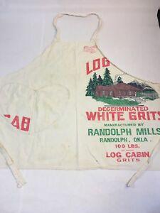 Handmade Vintage Sack Cloth Apron Heart Pocket Craft Log Cabin Grits Grain Sack