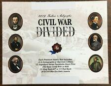 2019 Historic Autographs Civil War Divided Factory Sealed Box
