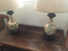 Pair Of Vintage Traditional Brass & Porcelain Lamps