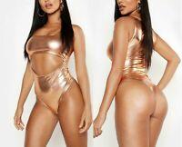 NEW LADIES WOMENS Cut Out Metallic Bodysuit