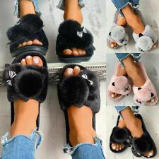 Women Cat Slip On Flat Plush Fur Slippers Winter Warm Home Indoor Shoes Size