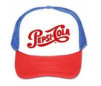 Pepsi Cola hat trucker hat mesh hat script red white blue new adjustable