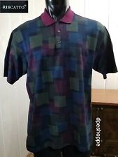 Riscatto Magenta Geometric 100% Cotton S/S Polo Golf Shirt Sz Xl Made In Italy