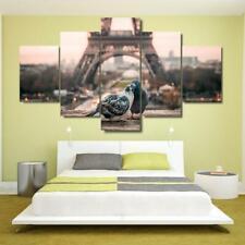 Love Birds in Paris City 5 piece Hd Art Poster Wall Home Decor Canvas Print