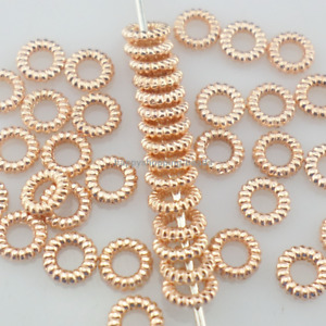 300pcs Rose gold round ring Small Loose Spacer Crafts Beads 4mm