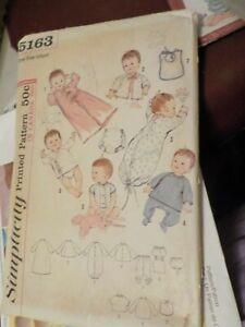 VINTAGE PATTERN SIMPLICITY #5163 INFANT SIZE LAYETTE