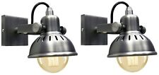 2 x Vintage Wall Light Dark Grey Pewter finish Brooklyn Style Adjustable Swivel