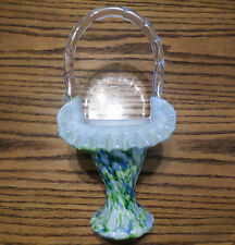 """11"""" Art Glass Basket - Fenton """"Aventurine Vasa Murrhina"""" ca:1964-68"""
