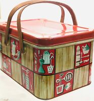 Picnic Basket Vintage Tin Red & Tan Faux Wood 50's Kitchen Items Wood Handles
