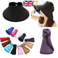 UK Boho Women Wide Brim Straw Visor Hat Roll Up Foldable Floppy Beach Sun Cap