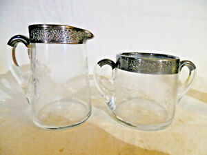 Vintage Sugar & Creamer With Cut Flowers & Silver Overlay Marked Sterling