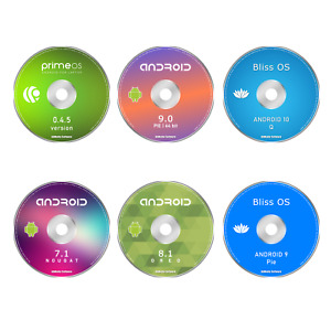 6 ANDROID for PC DVD Bundle - 10 Q, 9 Pie, 8 Oreo, 7.1, Prime OS, Bliss OS