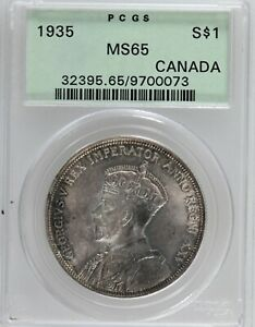 Canada: George V 1935 Silver Dollar PCGS MS-65. Toned.