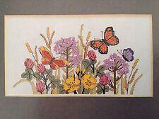 Butterflies in Meadow cross stitch magazine pattern, fabric & floss lot