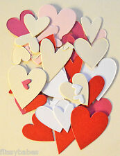 55 Assorted Small Heart Shapes Cut in Pearl Card Red/White/Pink/Cerise/Cream NEW