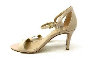 Women Michael Kors MK Simone Mid Heel Buckle Up Sandal Patent Light Blush 10M