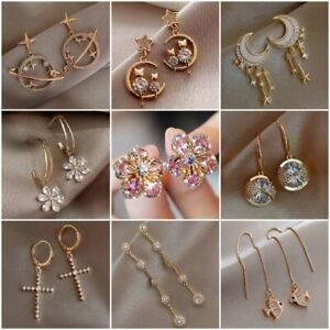 Fashion 925 Silver Zircon Crystal Earrings Ear Stud Women Drop Dangle Jewelry