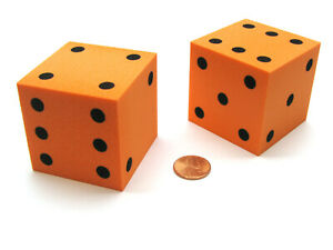 Pack of 2 Jumbo Large 50mm (2 Inches) Foam Dice - Orange with Black Pips