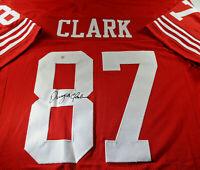 DWIGHT CLARK / AUTOGRAPHED SAN FRANCISCO 49ERS RED CUSTOM FOOTBALL JERSEY / COA