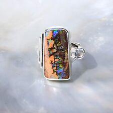 Boulder Opal Ring, 925er Silber, Edelsteinring (21871), mit Mondstein