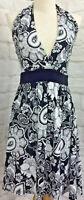 Piper Lane Size 8 Black & White Floral Halter Neck Mini Dress Fit N Flare