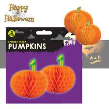 2 x Halloween Hanging Ornamental 3D Paper Pumpkins Party Decorations Table Decor