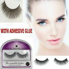 False Fake Eyelashes Natural  Reusable Make Up Extensions Long Lashes Adhesive