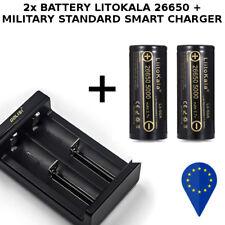 2x BATTERY LIITOKALA 26650 5000mAh 50A HIGH DRAIN BATTERIA+SMART CHARGER CARICA