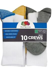 Fruit of the Loom Boys 10 Pair Crew Socks NEW Size Large Shoe Size 3-9
