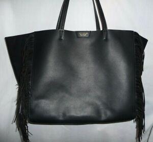 Victoria's Secret Black FRINGE Faux Leather Suede Weekender XL Tote BAG