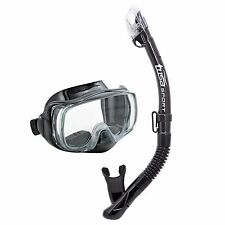TUSA Sport Adult Imprex 3D Dry Mask and Snorkel Combo Black/Black