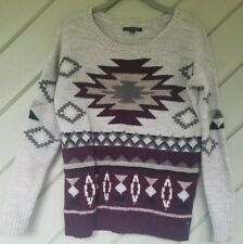 American Eagle Outfitters Aztec Print Oversize Sweater Maroon Gray Wool Blend XS