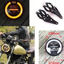 "1x 6.8"" Motorcycle LED Headlamp Driving Light With Fork 41mm Adjustable Bracket"