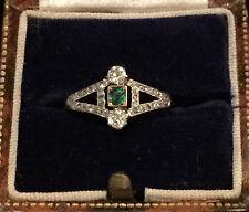 Victorian 18ct, 18k, 750 Gold Emerald & European-cut Diamond ring Size E 1/2
