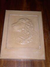 ANTIQUE GOLDEN RETRIEVER POTTERY DOG PLAQUE RAISED PROFILE HEAD STUDY 1930