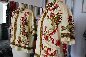 Johnsons Dragon shirt size small rockabilly 50s style lemon red black