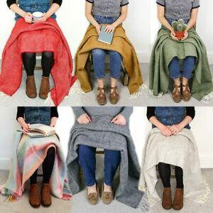 Herringbone 100% wool knee rug small blanket chair throw BRITISH MADE Tweedmill