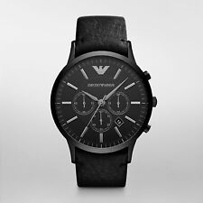 NEW Armani Black Leather Quartz Analog Men's Watch AR2461