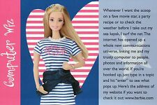 """ Barbie.com Internet ""  Fashion Collectible Photo Card Mattel - Barbie Postcard"