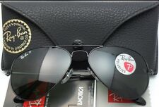 RAY BAN AVIATOR POLARIZED BLACK FRAME W/ NATURAL GREEN RB 3025 002/58 62MM LARGE