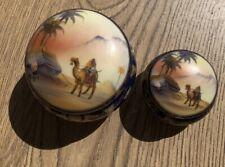 NORITAKE Desert Scene lidded Bowls x 2, blue Komaru backstamps