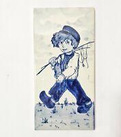 Hemiksem Ceramic Art Tile Boy with Fishing Rod Sphinx Maastricht Holland Blue