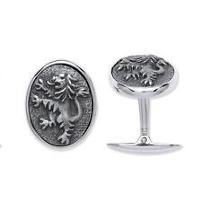Rampant Lion Cufflinks Solid Sterling Silver Hallmarked