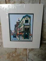 """R N Cohen Portland Maine Artist Signed Matted Print 8"""" x 9"""" Hay's Drug Store"""