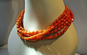 """STATEMENT NATURAL RED CORAL GEMSTONE NECKLACE - 5 STRAND -  48cm / 19"""" LONG"""