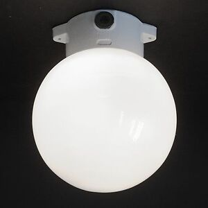 Vintage Mid-Century Art Deco Ceiling Wall Opaline Globe Lamp Porcelain Germany