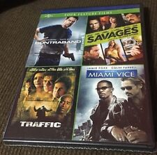 Four Feature Films (DVD 2014) Contraband, Savages, Traffic, Miami Vice; New
